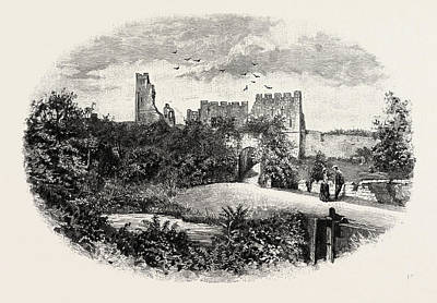Medieval Entrance Drawing - Prudhoe Castle,  Is A Ruined Medieval English Castle by English School