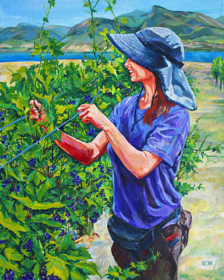 Winery Painting - Pruning The Pinot by Derrick Higgins