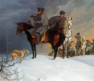 Prussia Painting - Prussian Cavalry Outpost In The Snow by Franz Kruger
