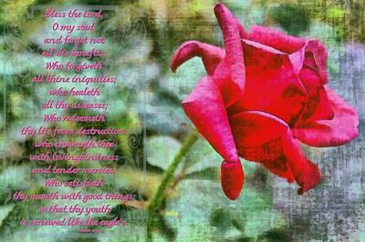 Psalm 103 2 5 Art Print by Michelle Greene Wheeler