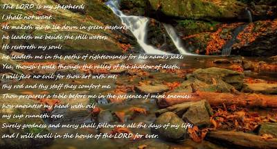 Psalm 23 Autumn Waterfall Art Print