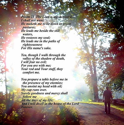 Photograph - Psalm 23 by Diannah Lynch