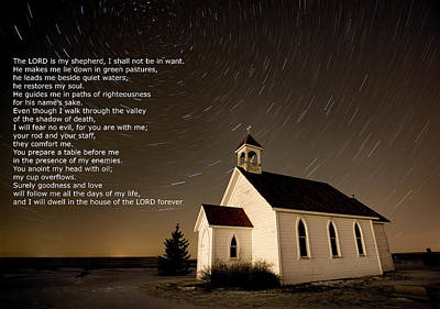 Psalm 23 Night Photography Star Trails Art Print by Mark Duffy