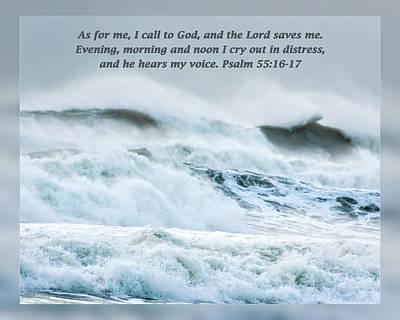 Psalm 55 16-17 Art Print