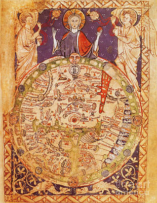 Photograph - Psalter World Map by Photo Researchers