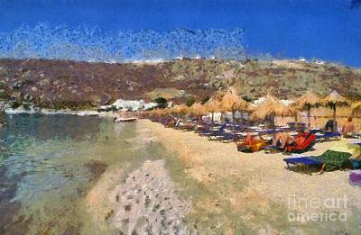 Painting - Psarou Beach by George Atsametakis