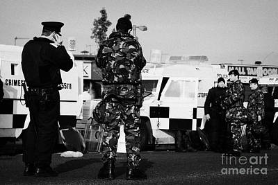 Psni Officers And British Army Soldiers At Psni Landrovers On Crumlin Road At Ardoyne Shops Belfast  Art Print
