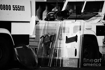 Psni Protective Riot Gear At Landrovers On Crumlin Road At Ardoyne Shops Belfast 12th July Art Print