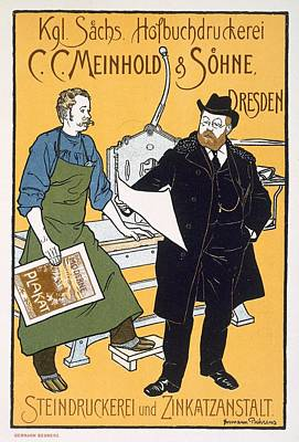 Printing Drawing - Poster Advertising C C Meinhold And Sons by Hermann Behrens