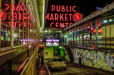 Psychadelic Midnight Colors At Pike Place Market Art Print by Brian Xavier