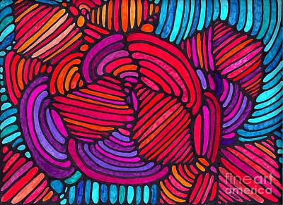 Colorful Abstract Drawing - Psychedelia 4 by Sarah Loft