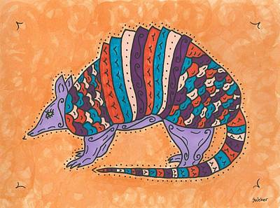 Art Print featuring the painting Psychedelic Armadillo by Susie Weber