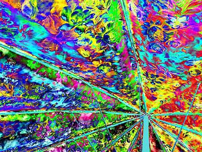 Multicolored Digital Art - Psychedelic Beach Umbrella by Will Borden