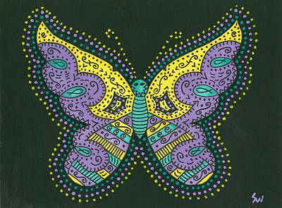 Art Print featuring the painting Psychedelic Butterfly by Susie Weber