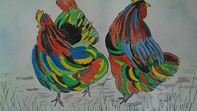 Psychedelic Chooks Art Print by Judi Goodwin