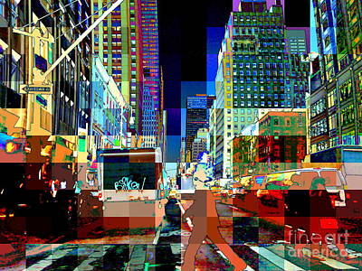 Photograph - Psychedelic City - Pop Art New York City Street Scene by Miriam Danar