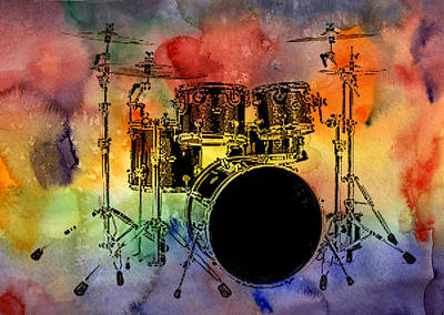 Photograph - Psychedelic Drum Set by Athena Mckinzie