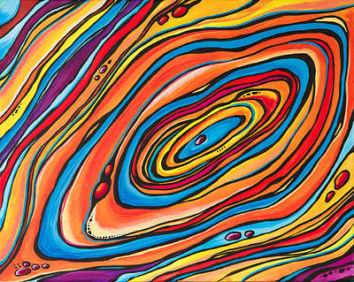 Oil Slick Painting - Psychedelic by Emily Brantley