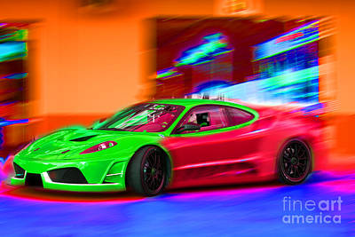 Art Print featuring the photograph Psychedelic Ferrari by Gunter Nezhoda