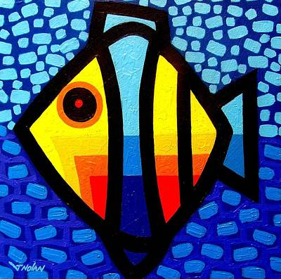 Psychedelic Fish Art Print by John  Nolan