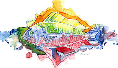 Abstract Wildlife Painting - Psychedelic Fish by Mike Lawrence