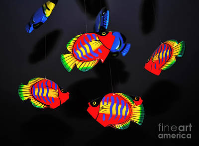 Hanging Mobile Photograph - Psychedelic Flying Fish by Kaye Menner