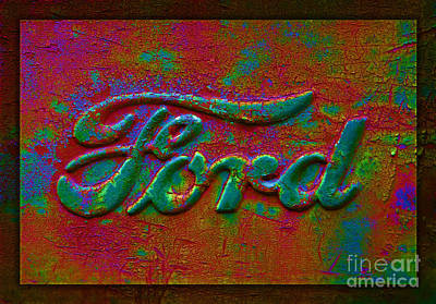 Photograph - Psychedelic Ford Logo by John Stephens