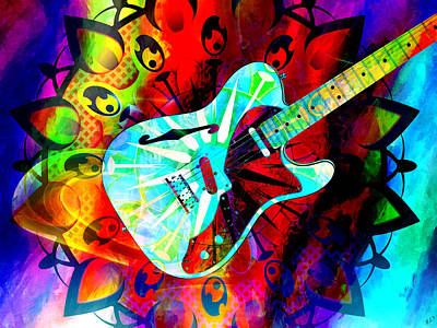 Music Paintings - Psychedelic Guitar by Ally  White