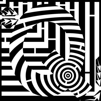 Alphabet Mazes Digital Art - Psychedelic Letter Q by Yonatan Frimer Maze Artist