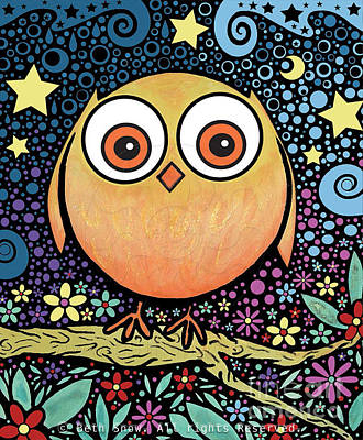 Psychedelic Owl Art Print by Beth Snow