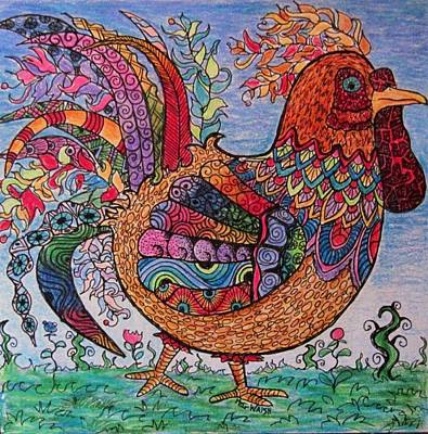 Zen Tangle Drawing - Psychedelic Rooster by Megan Walsh
