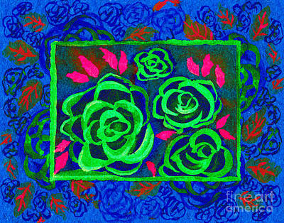 Multimedia Mixed Media - Psychedelic Roses - Winter by Beverly Claire Kaiya