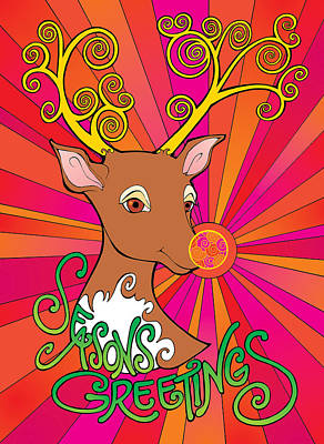 Digital Art - Psychedelic Rudolph by Steven Stines
