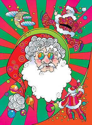 Digital Art - Psychedelic Santa Face by Steven Stines