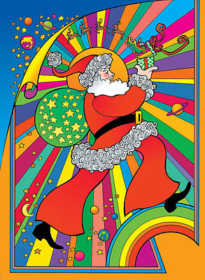 Digital Art - Psychedelic Santa by Steven Stines
