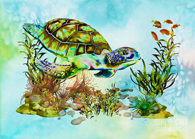 Mixed Media - Psychedelic Sea Turtle by Olga Hamilton