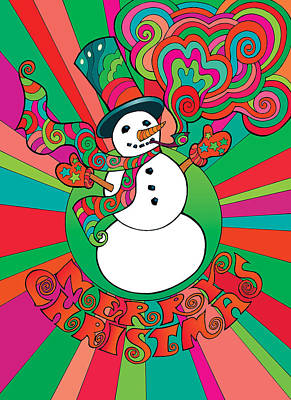 Mixed Media - Psychedelic Snowman 1 by Steven Stines