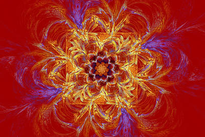 Photograph - Psychedelic Spiral Vortex Red Orange And Blue Fractal Flame by Keith Webber Jr