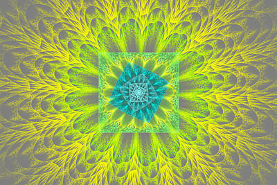 Photograph - Psychedelic Spiral Vortex Yellow And Gray Fractal Flame by Keith Webber Jr