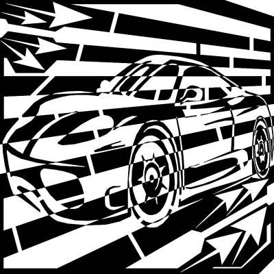 Sports Maze Drawing - Psychedelic Sports Car Maze  by Yonatan Frimer Maze Artist