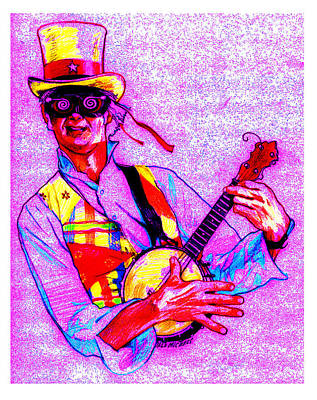 Steampunk Drawing - Psychedelic Steampunk Banjo by Dale Michels