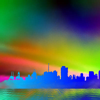 Psychedelic Vancouver Skyline Left Panel Art Print