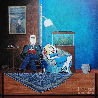 Psychiatrist Sitting In Chair Studying Spider's Reaction Art Print by John Lyes