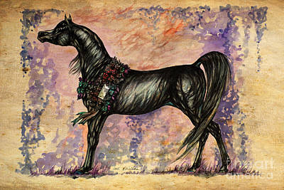 Wild Horses Drawing - Psychodelic Black And Blue by Angel  Tarantella