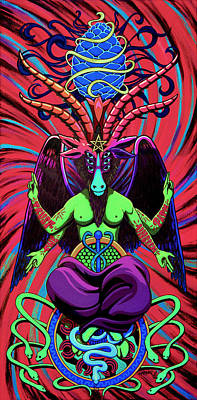 Psychtanic Baphodelic Super Goat On Dmt Art Print by Steve Hartwell