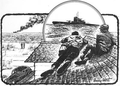 Pt Boats Off Nc Coast In Wwii Art Print by Harry West