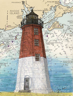 New England Lighthouse Painting - Pt Judith Lighthouse Ri Nautical Chart Map Art by Cathy Peek