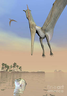 Ocean Front Landscape Digital Art - Pteranodon Fishing For Food by Elena Duvernay