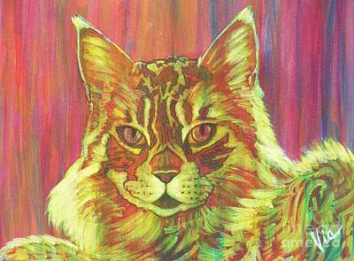 Painting - Ptg   Cameo Maine Coon by Judy Via-Wolff