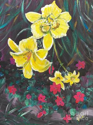 Ptg. Day Lillies And Impatients Art Print